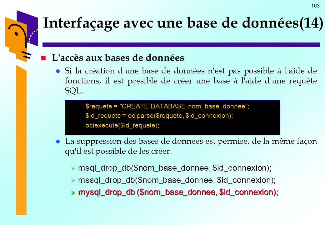 163 Interfaçage avec une base de données(14) L'accès aux bases de données Si la création d'une base de données n'est pas possible à l'aide de fonction