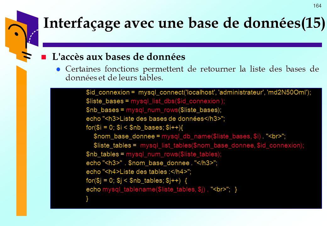 164 Interfaçage avec une base de données(15) L'accès aux bases de données Certaines fonctions permettent de retourner la liste des bases de données et
