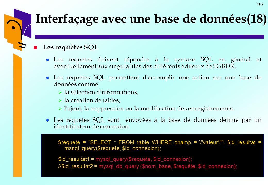 167 Interfaçage avec une base de données(18) Les requêtes SQL Les requêtes SQL Les requêtes doivent répondre à la syntaxe SQL en général et éventuelle