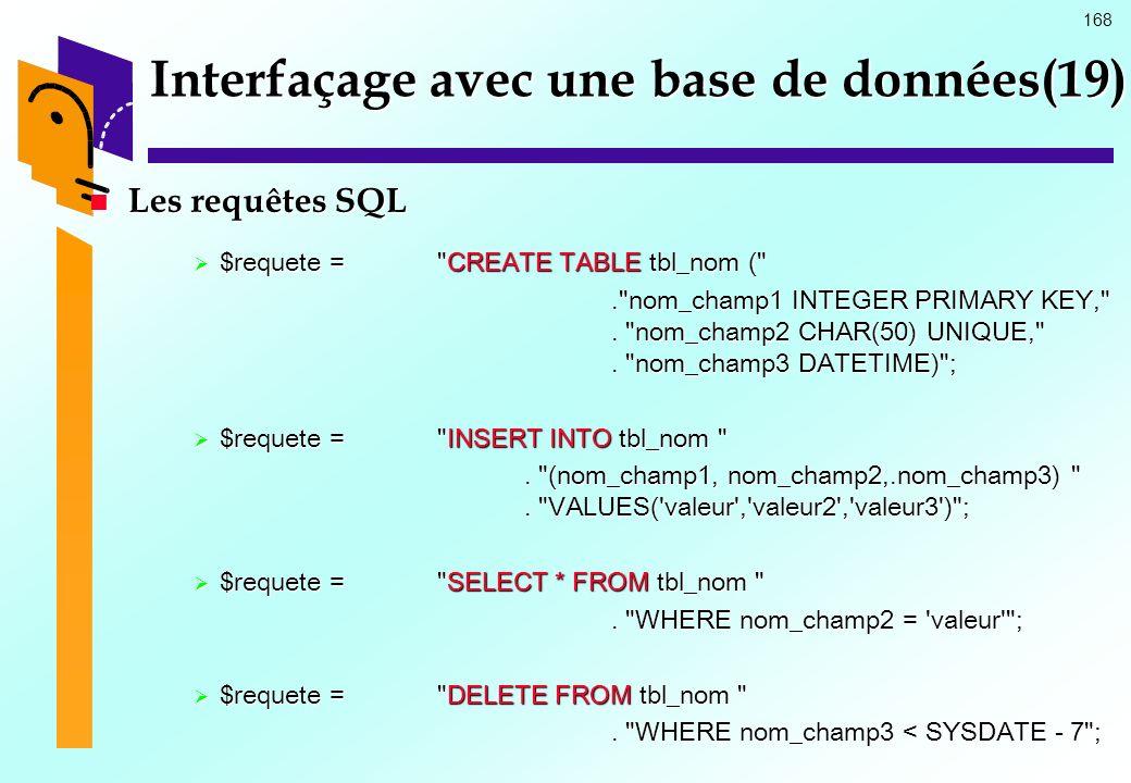 168 Interfaçage avec une base de données(19) Les requêtes SQL Les requêtes SQL $requete =