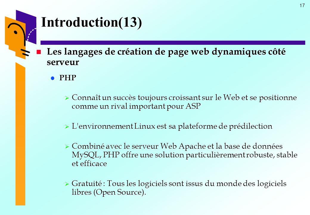17 Introduction(13) Les langages de création de page web dynamiques côté serveur Les langages de création de page web dynamiques côté serveur PHP PHP