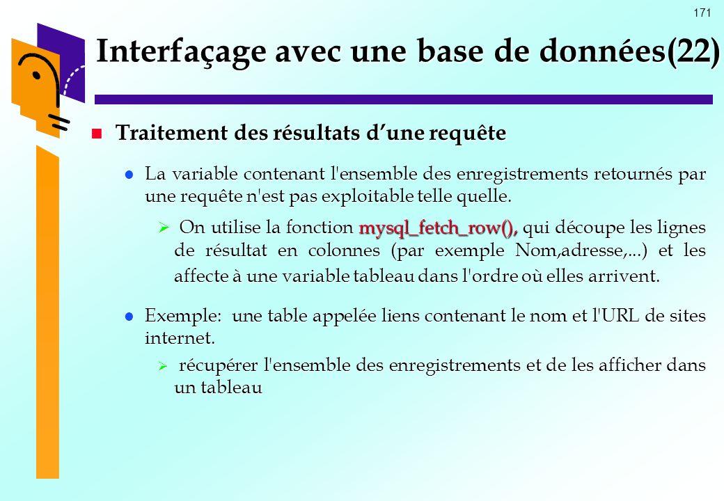 171 Interfaçage avec une base de données(22) Traitement des résultats dune requête Traitement des résultats dune requête La variable contenant l'ensem