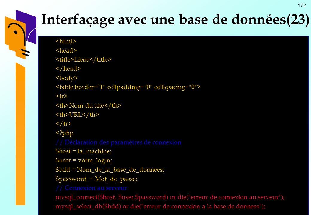172 Interfaçage avec une base de données(23) Liens Nom du site URL <?php // Déclaration des paramètres de connexion $host = la_machine; $user = votre_