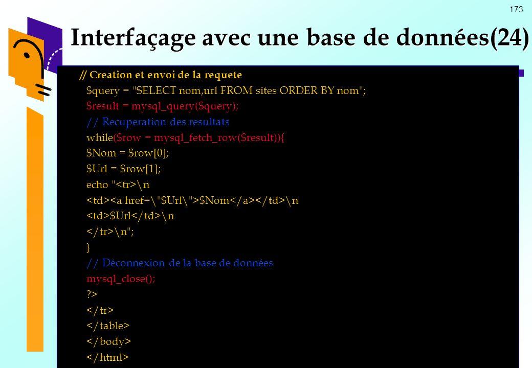 173 Interfaçage avec une base de données(24) // Creation et envoi de la requete $query =