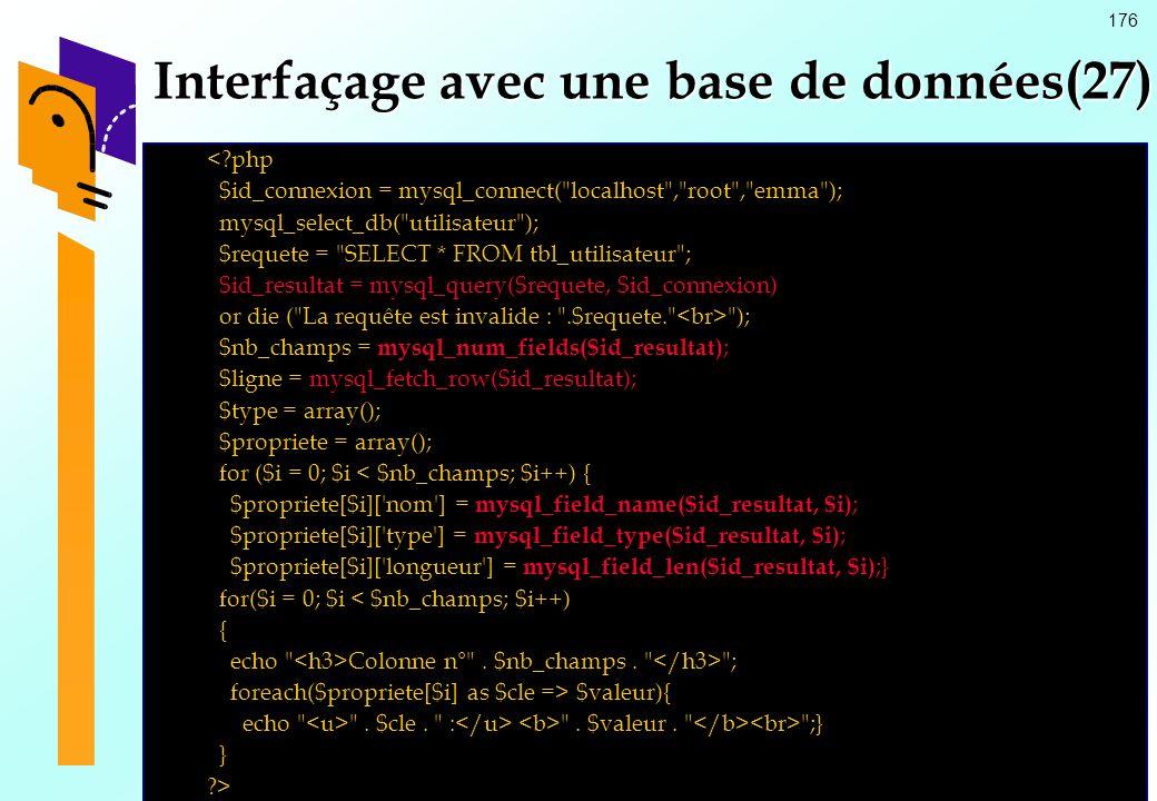176 Interfaçage avec une base de données(27) <?php $id_connexion = mysql_connect(