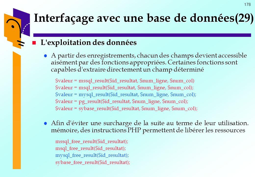 178 Interfaçage avec une base de données(29) L'exploitation des données L'exploitation des données A partir des enregistrements, chacun des champs dev