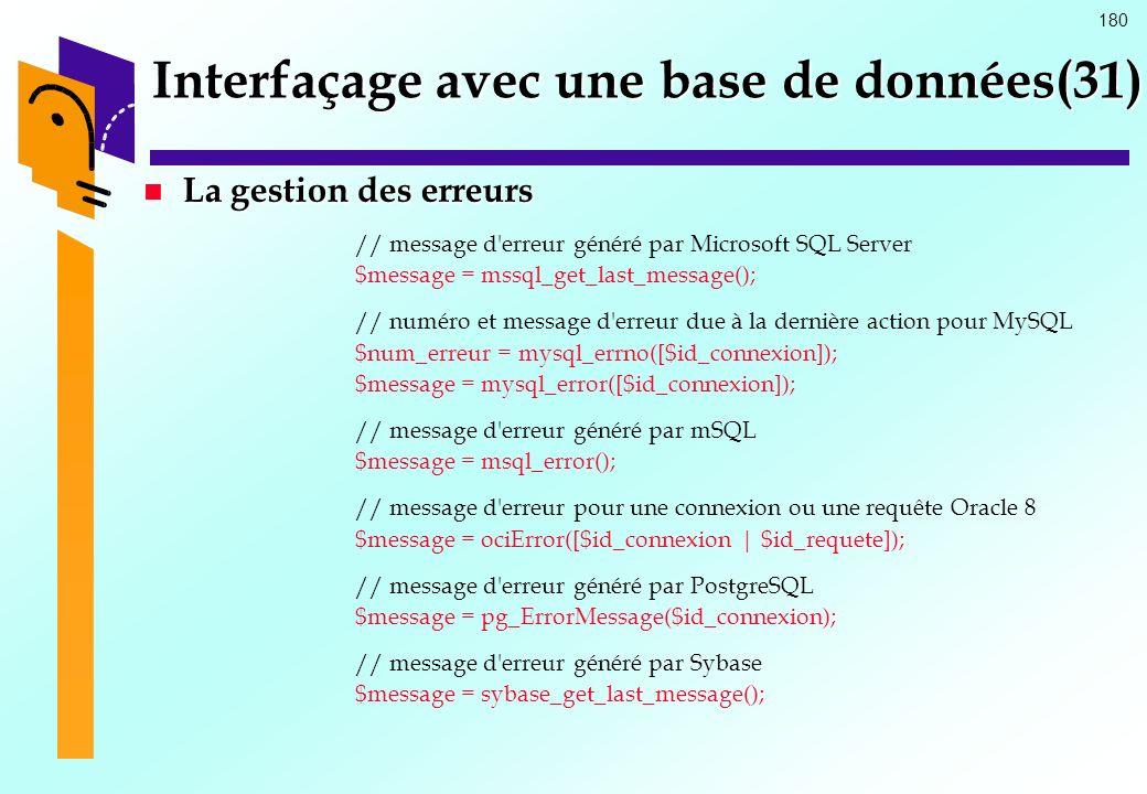 180 Interfaçage avec une base de données(31) La gestion des erreurs La gestion des erreurs // message d'erreur généré par Microsoft SQL Server $messag