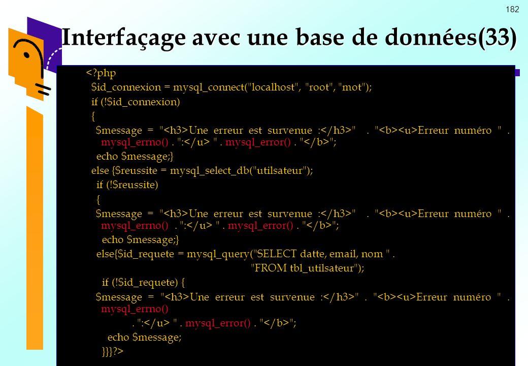 182 Interfaçage avec une base de données(33) <?php $id_connexion = mysql_connect(