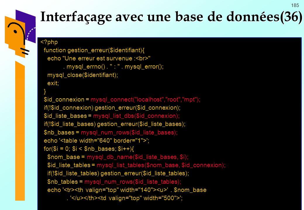 185 Interfaçage avec une base de données(36) <?php function gestion_erreur($identifiant){ echo