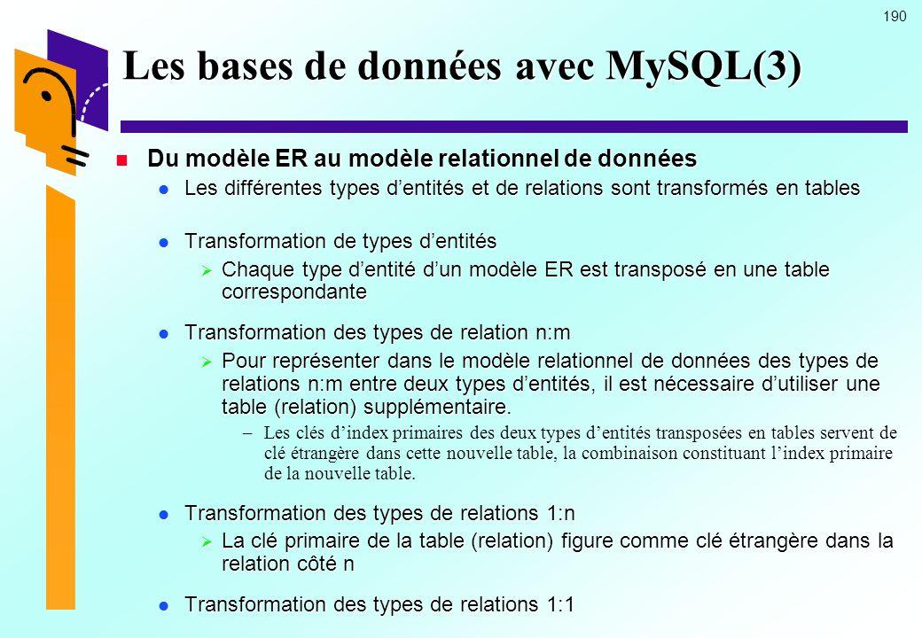 190 Les bases de données avec MySQL(3) Du modèle ER au modèle relationnel de données Du modèle ER au modèle relationnel de données Les différentes typ