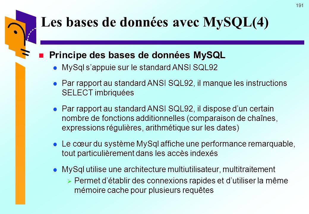 191 Les bases de données avec MySQL(4) Principe des bases de données MySQL Principe des bases de données MySQL MySql sappuie sur le standard ANSI SQL9
