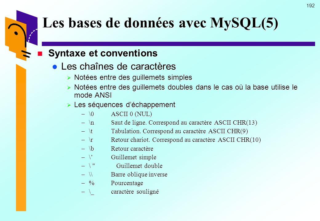 192 Les bases de données avec MySQL(5) Syntaxe et conventions Syntaxe et conventions Les chaînes de caractères Les chaînes de caractères Notées entre