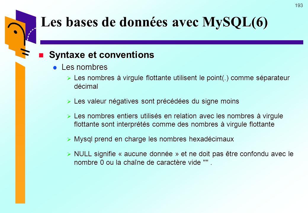 193 Les bases de données avec MySQL(6) Syntaxe et conventions Syntaxe et conventions Les nombres Les nombres Les nombres à virgule flottante utilisent