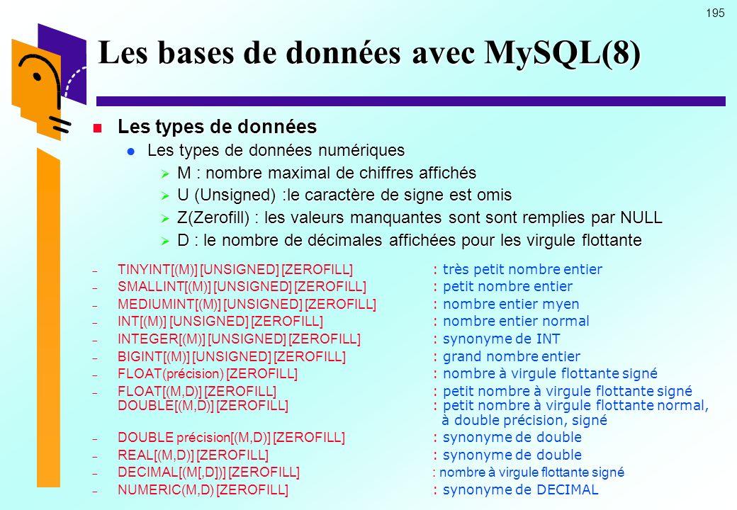 195 Les bases de données avec MySQL(8) Les types de données Les types de données Les types de données numériques Les types de données numériques M : n