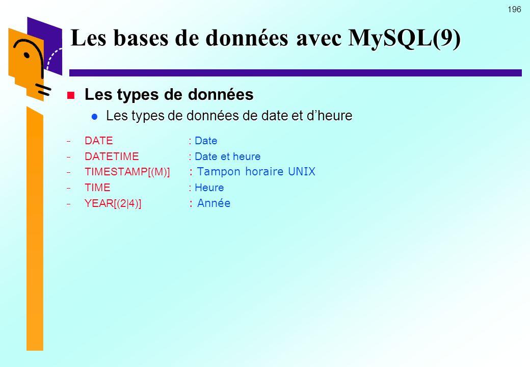 196 Les bases de données avec MySQL(9) Les types de données Les types de données Les types de données de date et dheure Les types de données de date e