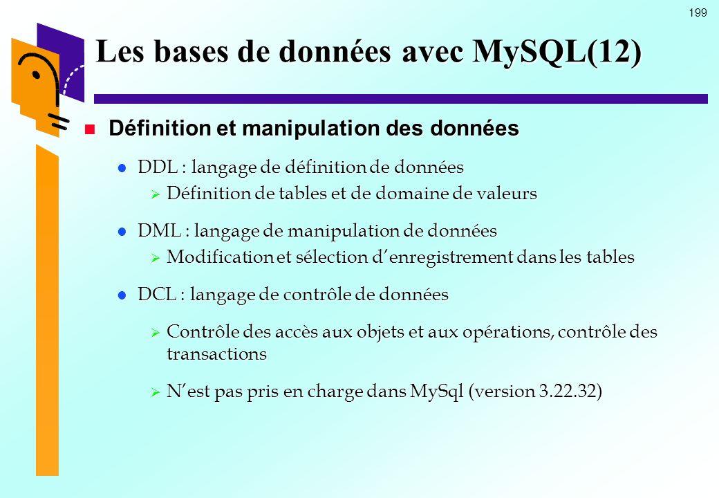 199 Les bases de données avec MySQL(12) Définition et manipulation des données Définition et manipulation des données DDL : langage de définition de d