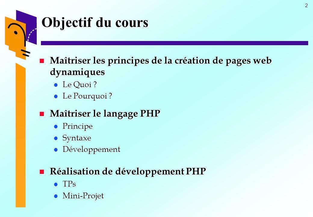 23 Intégration PHP et HTML (3) Forme dune page PHP Inclure un fichier PHP dans un fichier HTML : include() Fichier Prinipal Fichier dappel <?php $salut = BONJOUR ; include information.inc ; ?> Fichier à inclure : information.inc fichier.inc <?php $chaine=$salut., Cest PHP ; echo « <table border=\ 3\ $chaine ; ?>