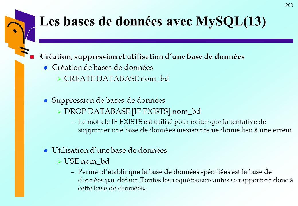 200 Les bases de données avec MySQL(13) Création, suppression et utilisation dune base de données Création, suppression et utilisation dune base de do