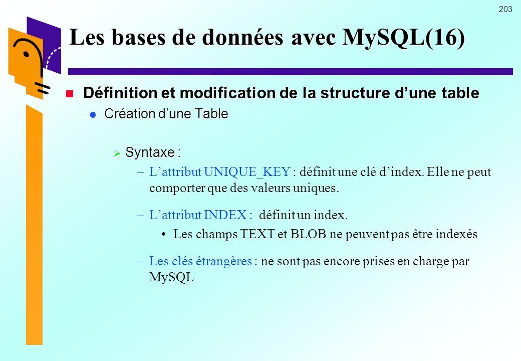 203 Les bases de données avec MySQL(16) Définition et modification de la structure dune table Définition et modification de la structure dune table Cr