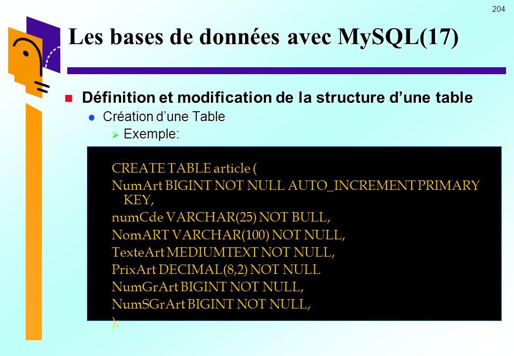 204 Les bases de données avec MySQL(17) Définition et modification de la structure dune table Définition et modification de la structure dune table Cr