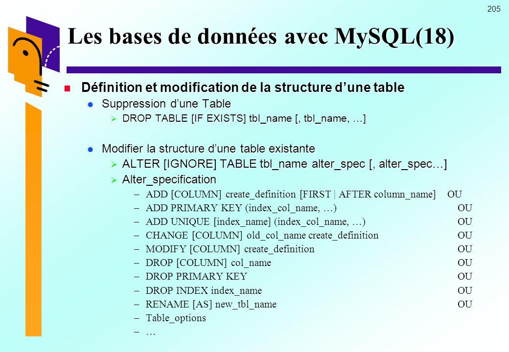205 Les bases de données avec MySQL(18) Définition et modification de la structure dune table Définition et modification de la structure dune table Su