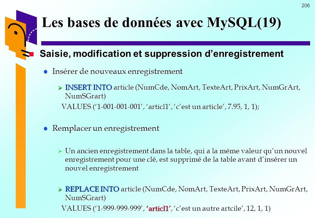 206 Les bases de données avec MySQL(19) Saisie, modification et suppression denregistrement Saisie, modification et suppression denregistrement Insére