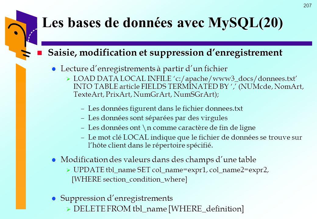 207 Les bases de données avec MySQL(20) Saisie, modification et suppression denregistrement Saisie, modification et suppression denregistrement Lectur