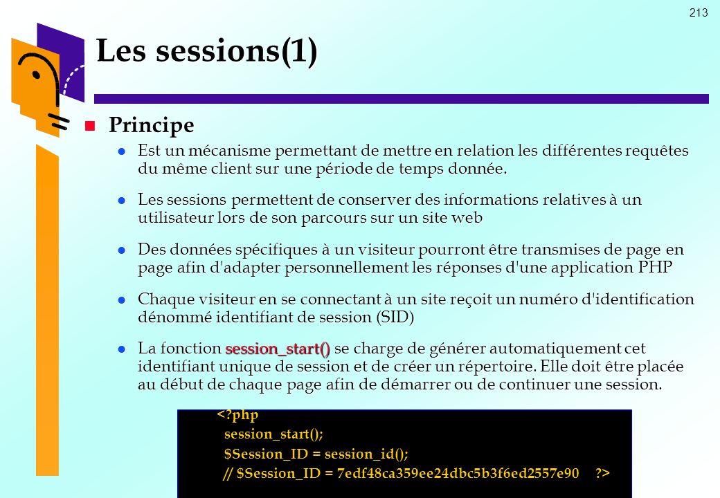 213 Les sessions(1) Principe Principe Est un mécanisme permettant de mettre en relation les différentes requêtes du même client sur une période de tem