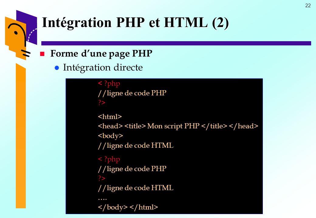 22 Intégration PHP et HTML (2) Forme dune page PHP Intégration directe < ?php //ligne de code PHP ?> Mon script PHP //ligne de code HTML < ?php //lign