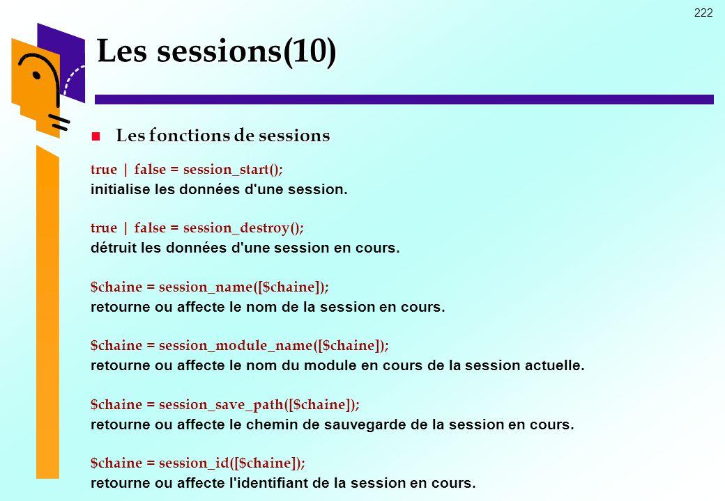 222 Les sessions(10) Les fonctions de sessions Les fonctions de sessions true | false = session_start(); initialise les données d'une session. true |