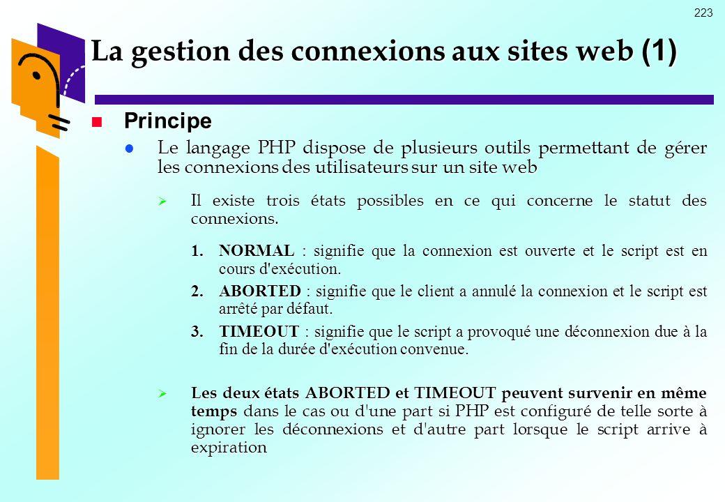 223 La gestion des connexions aux sites web (1) Principe Principe Le langage PHP dispose de plusieurs outils permettant de gérer les connexions des ut