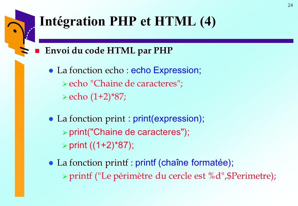24 Intégration PHP et HTML (4) Envoi du code HTML par PHP Envoi du code HTML par PHP La fonction echo : La fonction echo : echo Expression; echo