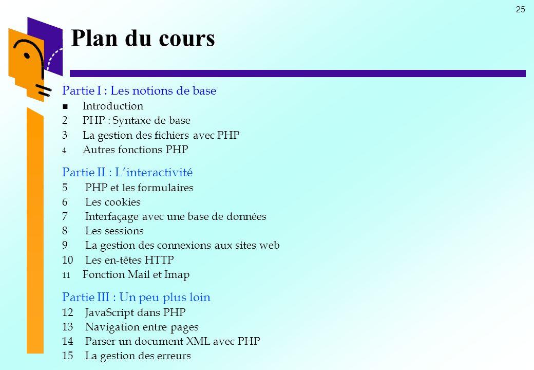 25 Plan du cours Partie I : Les notions de base Introduction 2PHP : Syntaxe de base 3La gestion des fichiers avec PHP 4 4 Autres fonctions PHP Partie