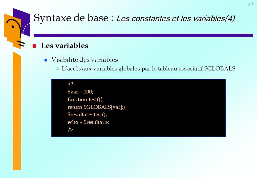 32 Syntaxe de base : Les constantes et les variables(4) Les variables Visibilité des variables Laccès aux variables globales par le tableau associatif