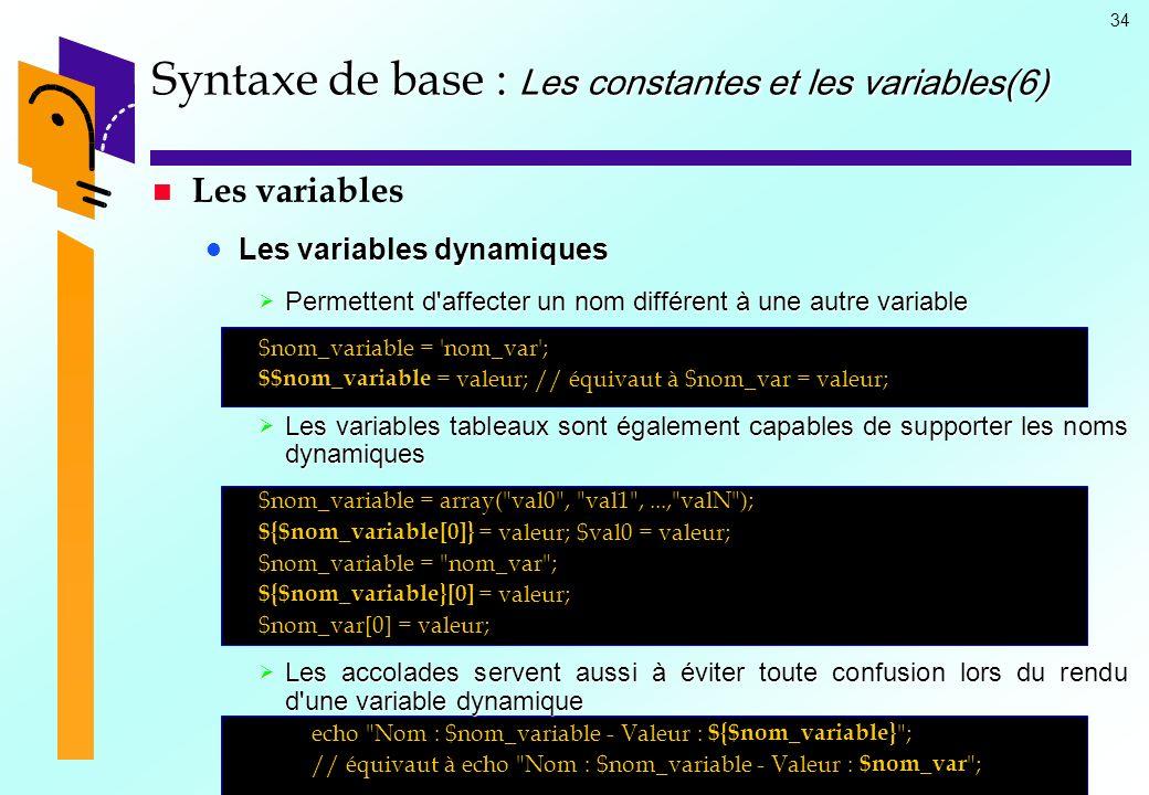34 Syntaxe de base : Les constantes et les variables(6) Les variables Les variables dynamiques Les variables dynamiques Permettent d'affecter un nom d