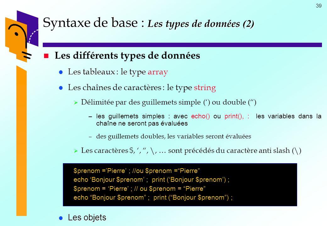39 Syntaxe de base : Les types de données (2) Les différents types de données Les tableaux : le type Les tableaux : le type array Les chaînes de carac
