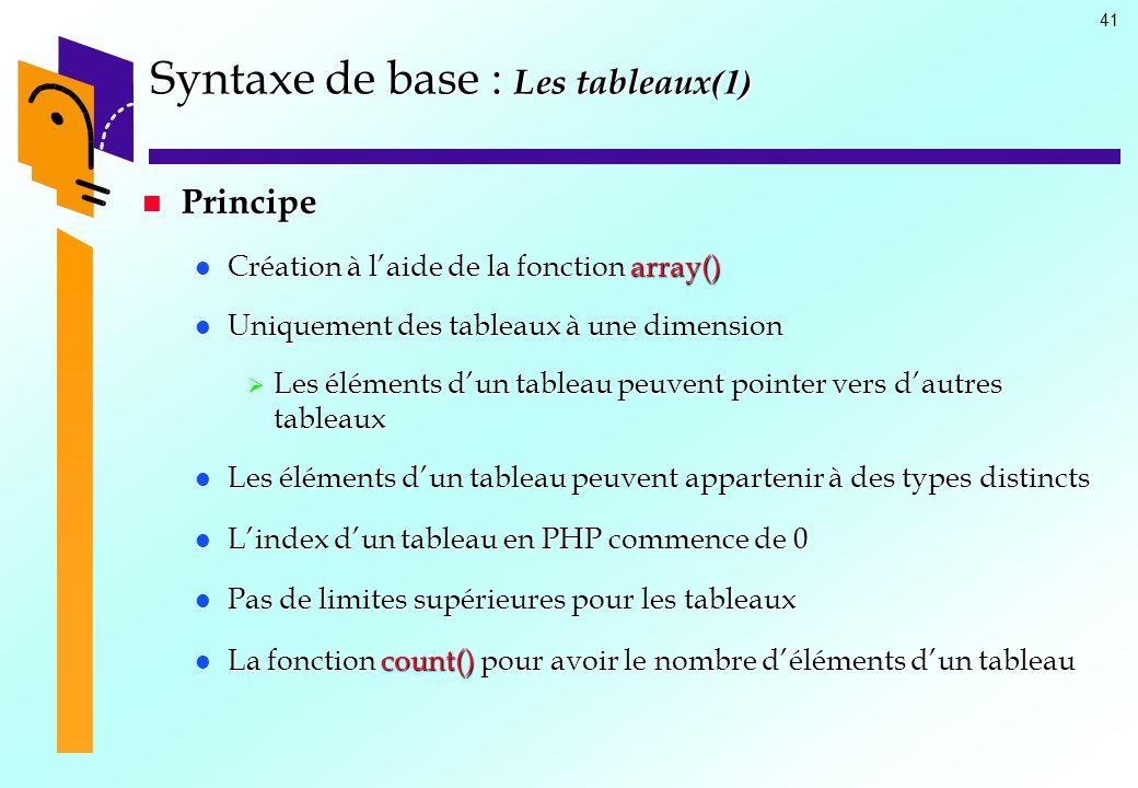41 Syntaxe de base : Les tableaux (1) Principe Principe Création à laide de la fonction array() Création à laide de la fonction array() Uniquement des