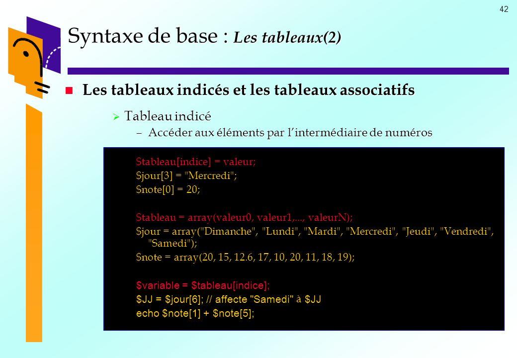 42 Syntaxe de base : Les tableaux(2) Les tableaux indicés et les tableaux associatifs Les tableaux indicés et les tableaux associatifs Tableau indicé