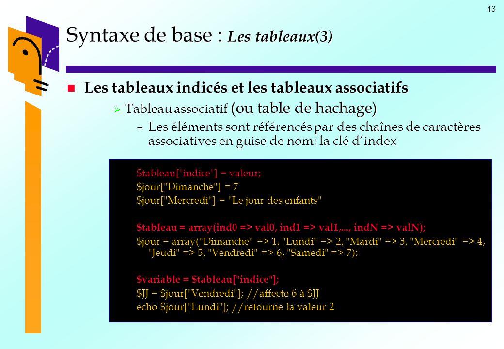 43 Syntaxe de base : Les tableaux(3) Les tableaux indicés et les tableaux associatifs Les tableaux indicés et les tableaux associatifs Tableau associa