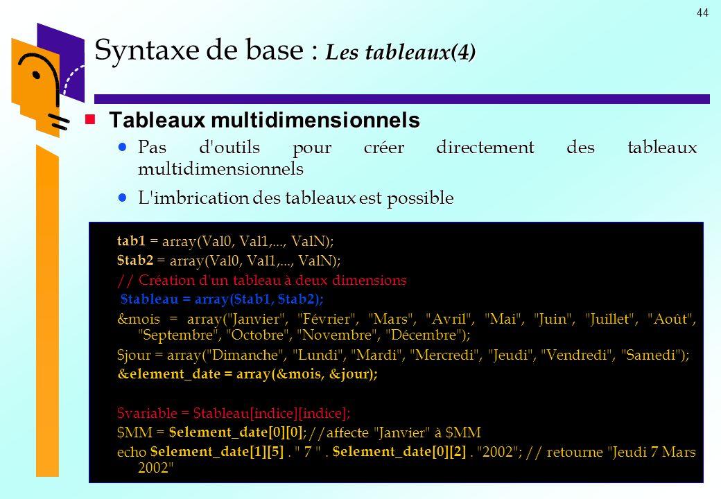 44 Tableaux multidimensionnels Tableaux multidimensionnels Pas d'outils pour créer directement des tableaux multidimensionnels Pas d'outils pour créer