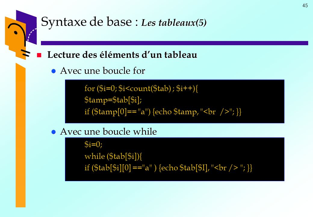45 Syntaxe de base : Les tableaux(5) Lecture des éléments dun tableau Lecture des éléments dun tableau Avec une boucle for Avec une boucle for for ($i=0; $i<count($tab) ; $i++){ $tamp=$tab[$i]; if ($tamp[0]== a ) {echo $tamp, ; }} Avec une boucle while Avec une boucle while $i=0; while ($tab[$i]){ if ($tab[$i][0] == a ) {echo $tab[$I], ; }}