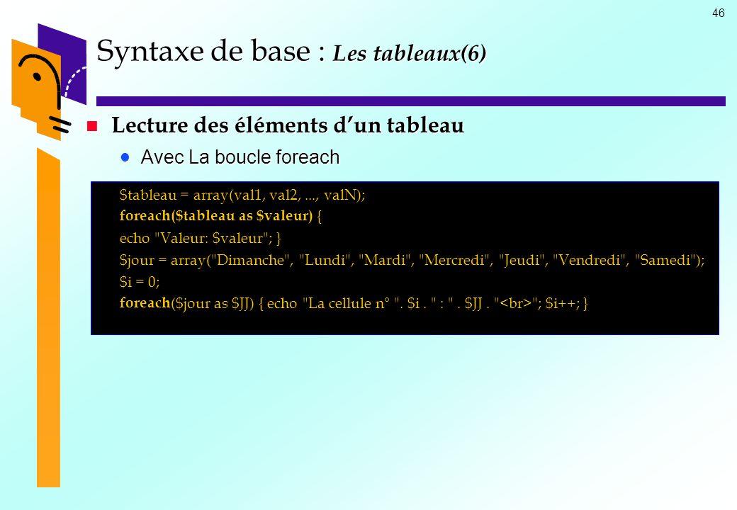 46 Syntaxe de base : Les tableaux(6) Lecture des éléments dun tableau Lecture des éléments dun tableau Avec La boucle foreach Avec La boucle foreach $