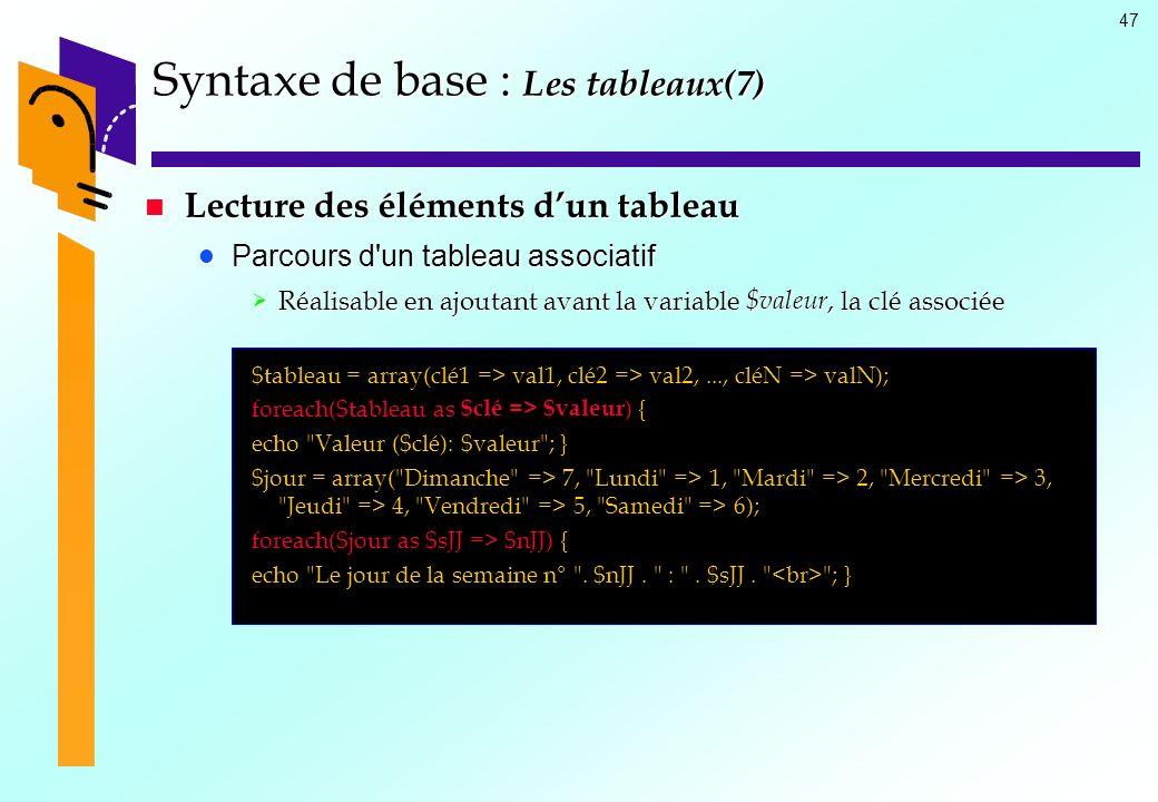 47 Syntaxe de base : Les tableaux(7) Lecture des éléments dun tableau Lecture des éléments dun tableau Parcours d'un tableau associatif Parcours d'un