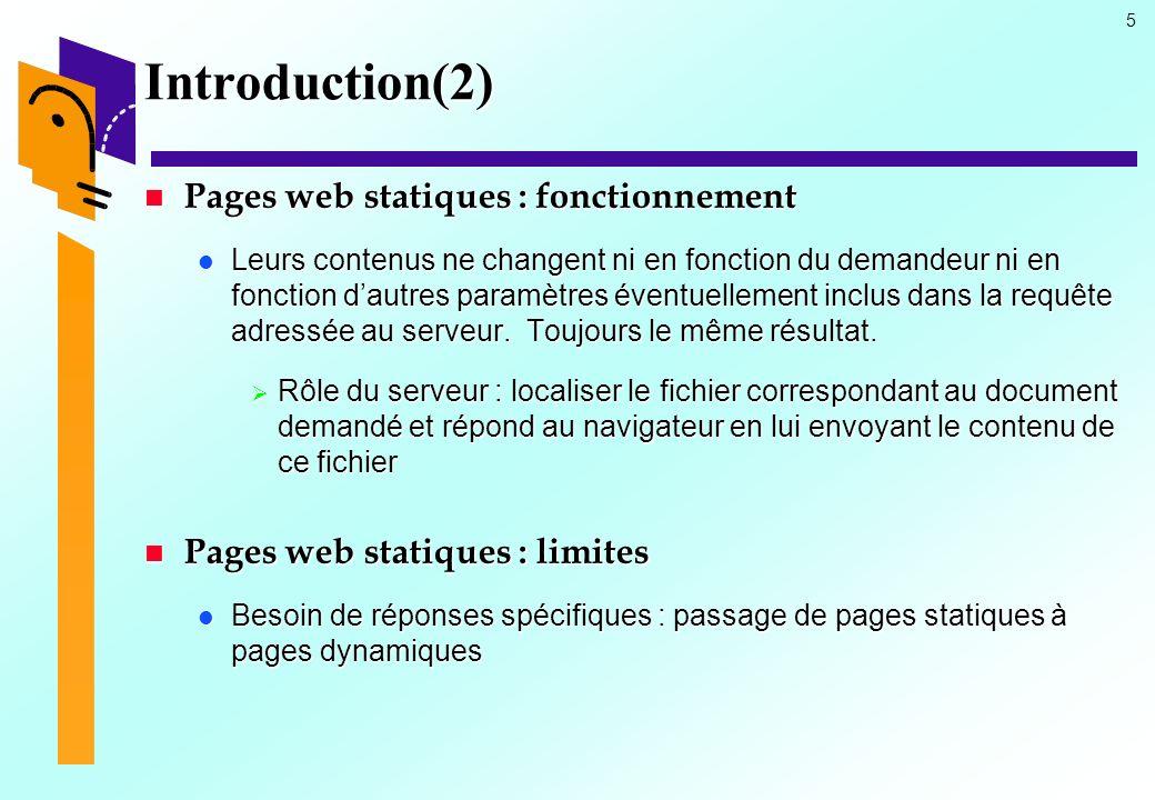 5 Introduction(2) Pages web statiques : fonctionnement Pages web statiques : fonctionnement Leurs contenus ne changent ni en fonction du demandeur ni