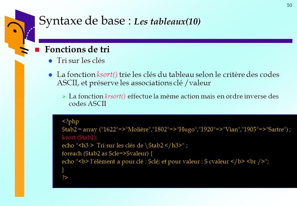 50 Syntaxe de base : Les tableaux(10) Fonctions de tri Fonctions de tri Tri sur les clés Tri sur les clés La fonction ksort() trie les clés du tableau
