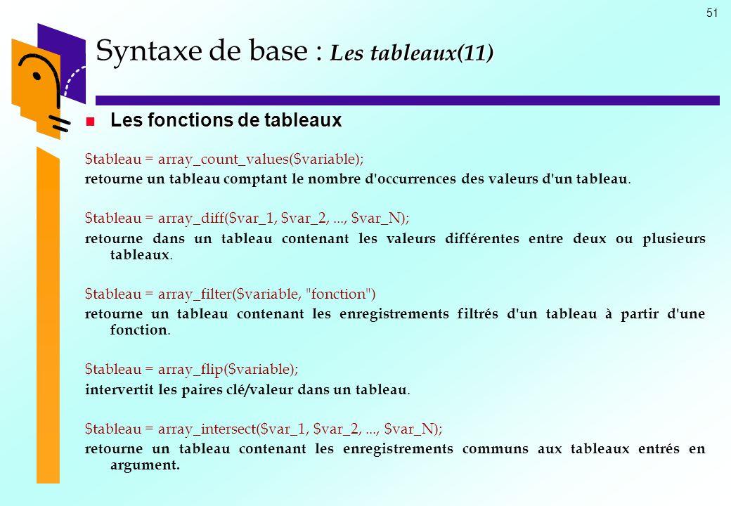 51 Syntaxe de base : Les tableaux(11) Les fonctions de tableaux Les fonctions de tableaux $tableau = array_count_values($variable); retourne un tablea