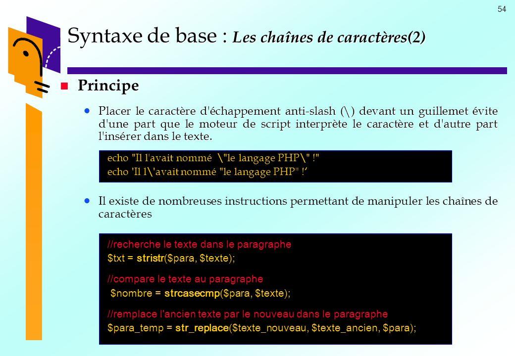 54 Syntaxe de base : Les chaînes de caractères(2) Principe Principe Placer le caractère d'échappement anti-slash (\) devant un guillemet évite d'une p