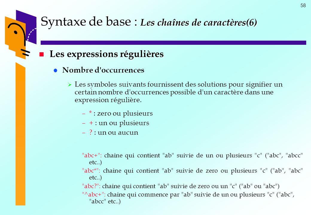58 Syntaxe de base : Les chaînes de caractères(6) Les expressions régulières Les expressions régulières Nombre d'occurrences Les symboles suivants fou
