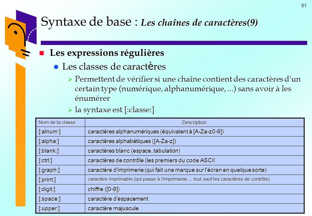 61 Syntaxe de base : Les chaînes de caractères(9) Les expressions régulières Les expressions régulières Les classes de caract è res Les classes de car