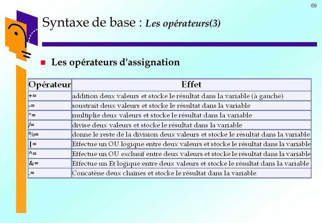 69 Syntaxe de base : Syntaxe de base : Les opérateurs(3) Les opérateurs d'assignation